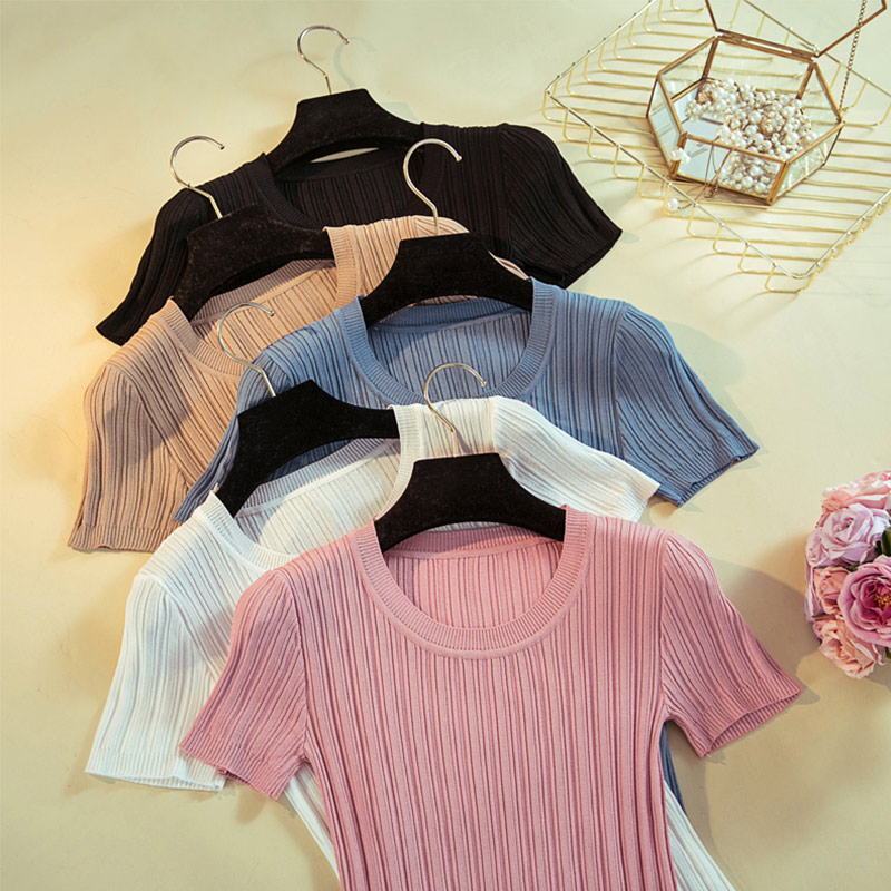 Knitted Ribbed Short Sleeve Women's T-Shirt O-Neck Slim Rib Women Tees Shirts Ladies 2019 Spring Summer Casual Tshirts Female