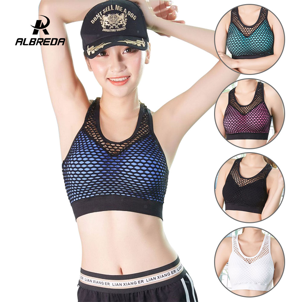 5be864a8ea984 ALBREDA mesh Hollow Quick drying Women s Breathable Fitness Yoga Sports Bra  For Running Gym straps sports