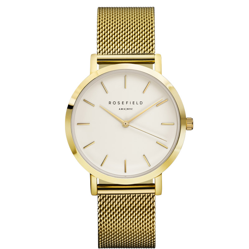 Ladies Ultra-Thin Watch - gold mesh link strap
