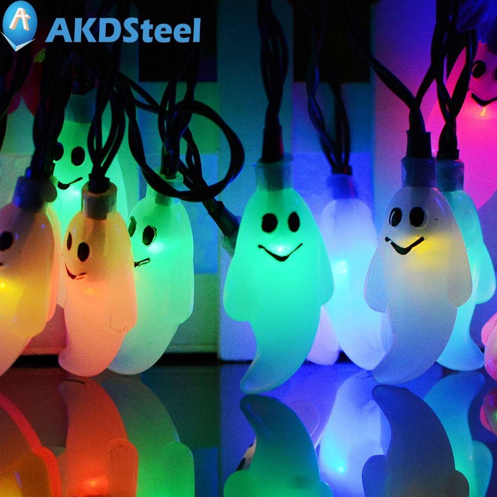 AKDSteel 30 LED Solar String Lights Horror Ghost Doll Fairy Light Outdoor Indoor Halloween New Year Christmas Decoration zk30 2 5m 10leds ghost led string lights halloween decoration