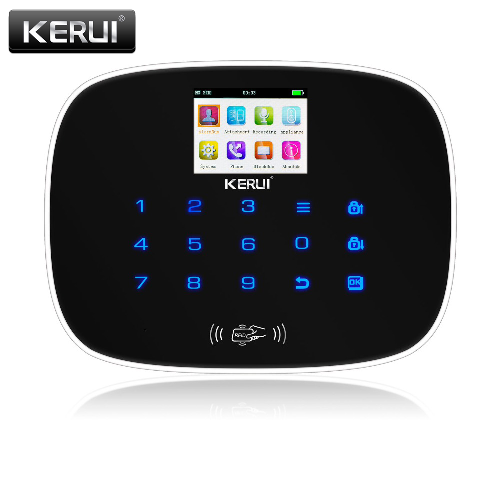 Kerui IOS Android APP Wireless GSM Alarm System TFT Color Display Autodial Text Burglar Intruder Security Alarm new kerui home protection gsm pstn ios android app remote quad 4 bands wireless autodial house burglar door alarm secure system