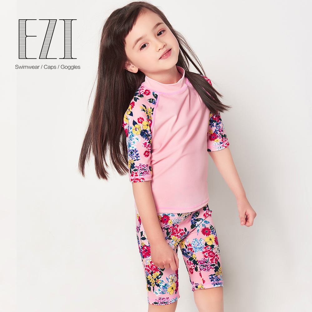 July Sand Pink Flower Print Half Sleeve Two Piece Surf Suit For Girl 12004
