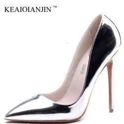 KEAIQIANJIN/женские золотистые пикантные туфли-лодочки, большие размеры 33-43, вечерние туфли из лакированной кожи на высоком каблуке, Серебристые