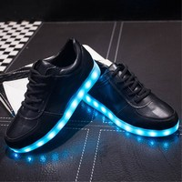 2017 Glowing Sneakers Usb Charging Shoes Led Slippers Do With Lights Up Colorful Led Tenis Simulation