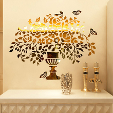 New arrival 2015 Crystal acrylic mirror 3d wall stickers Entranceway home decoration vase of flowers butterfly