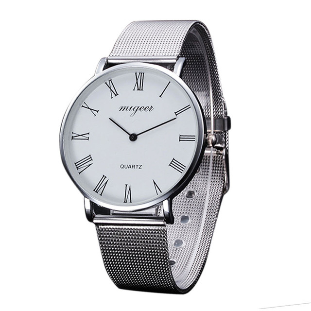 2018 Casual Silver Women Watch Crystal Stainless Steel Buckle Roman Numbers Anal