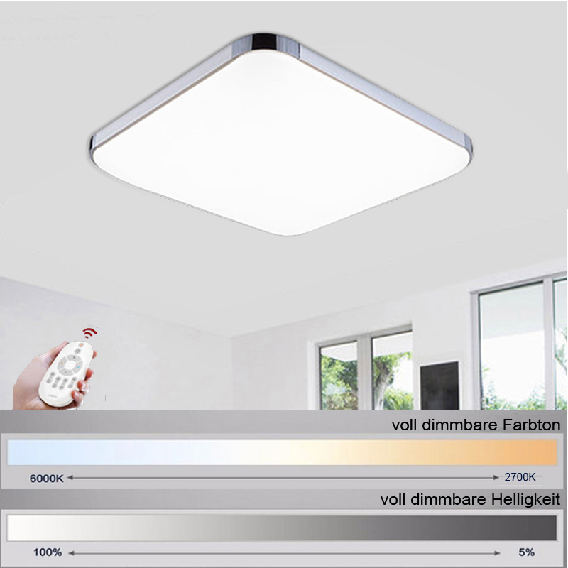 15W LED Ceiling Light Modern Lamp Living Room Lighting Fixture Bathroom Kitchen Square Lamp Warm White Remote Control
