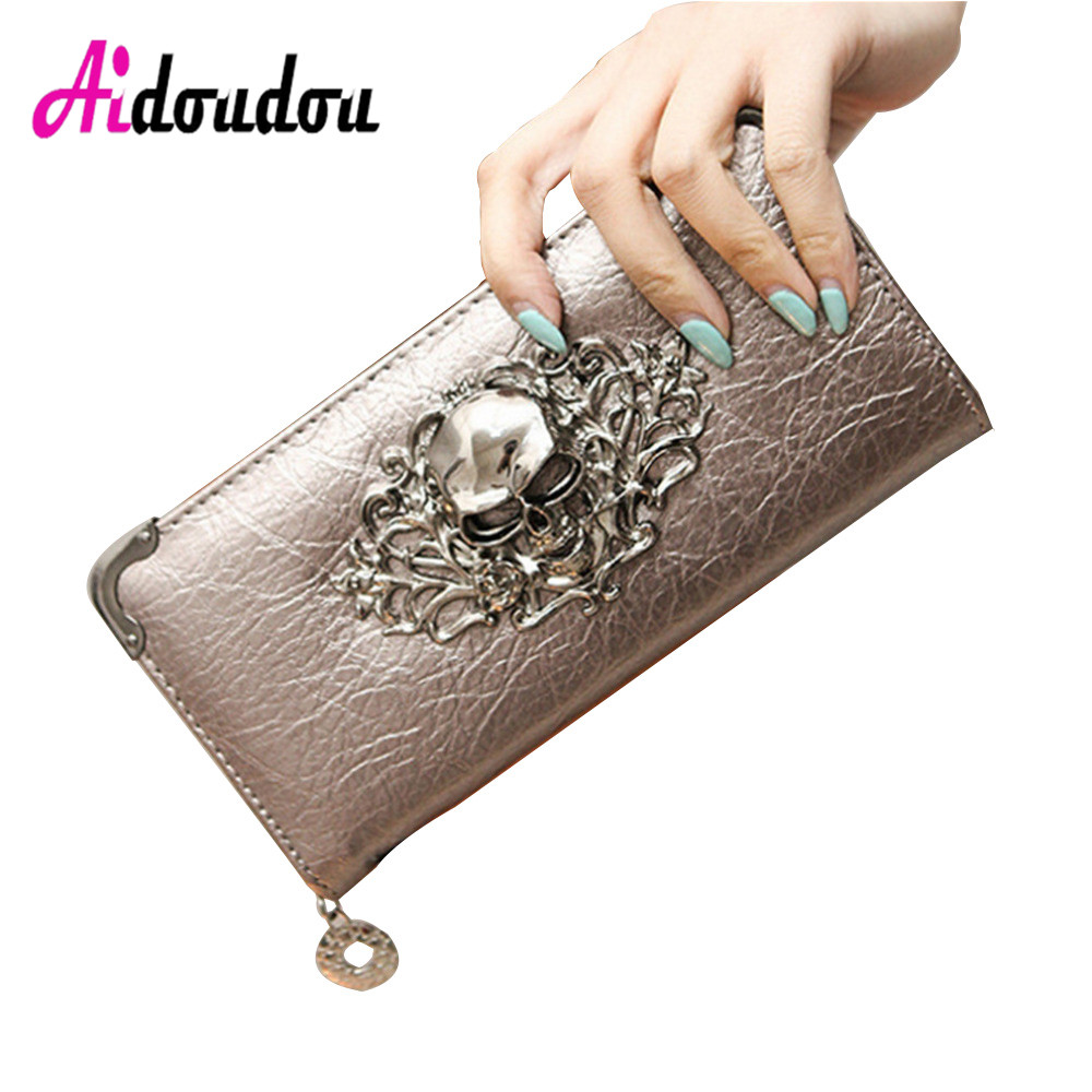 все цены на 2018 Fashion Metal Skull Pattern PU Leather Long Wallets Women Deer Wallets Portable Casual Lady Cash Purse Card Holder Gift онлайн