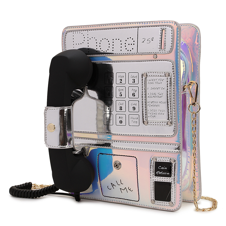 New Style Trendy Phone Model Laser Gradient Color Pu Girl's Chain Purse Shoulder Bag Tote Crossbody Women Bolsa Handbag Flap