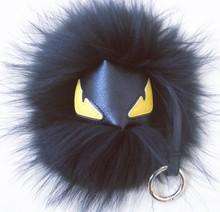 15cm Real fur monster keychain black pom pom fluffy bugs bag charms leather keychains Mini animal Shoulders keychain ring