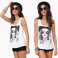 Casual PARIS Honey Print O Neck Sleeveless Women Cotton T Shirt Tops 2017 Summer Back Cut