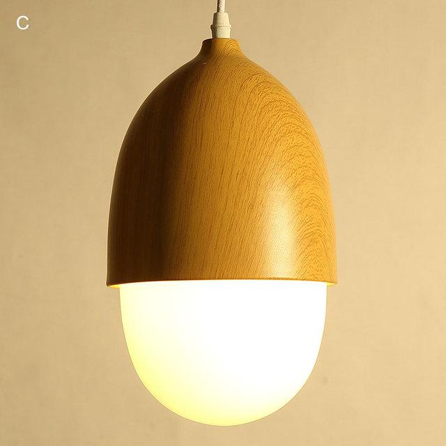 Modern Lamp Country Glass Pendant Light Fixtures Restaurant Kitchen Dining Room Wood Grain Iron E27 5W Led Bulb Gift 110-220V