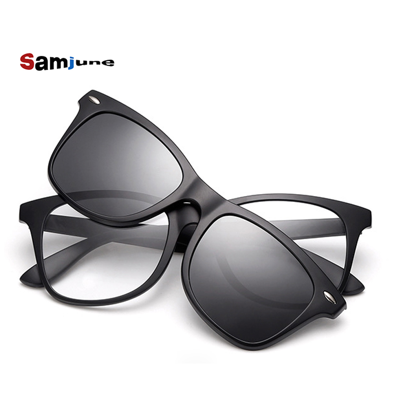 f31ada3175b Samjune Clip on Sunglasses clip on glasses square Lens Men Women mirror  clip Sun Glasses Night Vision Driving sunglasses for men