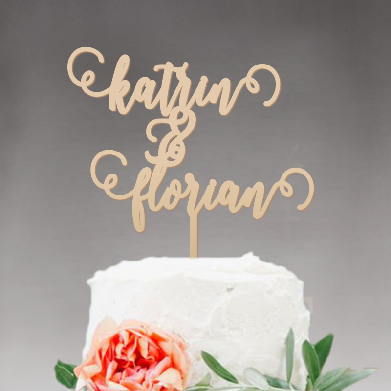 Rustic Wedding Cake Topper Monogram Wood Personalized With YOUR First Names Design