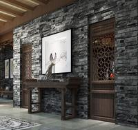 Classic PVC Black Gray Brick Wall Wallpaper Background 3D Decor