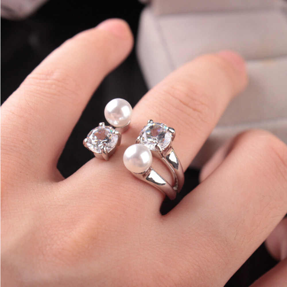 Fashion Lady Opening Adjustable Ring Zircon Pearls Rings Gifts for Mother's Day Women Gift