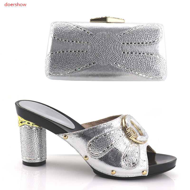 Фотография doershow New Arrival Italian Shoes And Bag Set Top Fashion African Woman HIGH Heels Matching Bag Wholesale silver !HV1-12