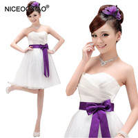 LF001 Elegant Padded Strapless Ball Gown Short Mini Wedding Bridesmaid Dresses 4 Colors For Pick