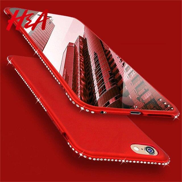 H & A Luxry Diamante Glitter Matte Casse Del Telefono Per il iphone 8 7 6 inoltre Strass Caso Della Copertura Del Silicone Per il iphone X 10 8 7 6 caso