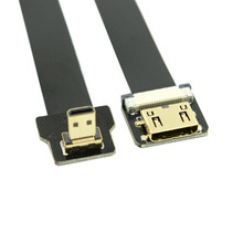 Free Shipping 90 Degree Up Angled FPV Micro HDMI Male to Mini HDMI FPC Flat Cable 50cm for GOPRO Multicopter Aerial Photography