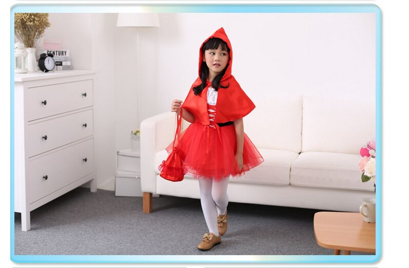 Children costumes halloween  princess dress cosplay girls Little Red Riding Hood dress with cloak