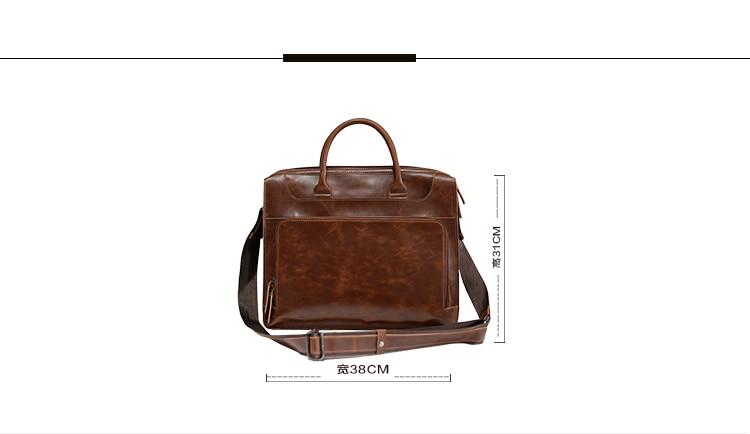 Brand Men's Briefcase Handbag Crazy Horse Pu Leather Messenger Travel Bag Business Men Tote Bags Man Casual Crossbody Briefcases