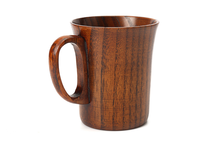 300ml Primitive Wooden Beer Mugs with Handle Natural Wood Mug Coffee Cup Tableware Kitchen Supply (3)