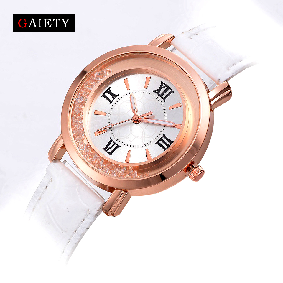 Gaiety Luxury Brand Diamond Fashion Rhinestone Watches Leather Casual Women's Dress Quartz-Watch Ladies Crystal Wristwatch