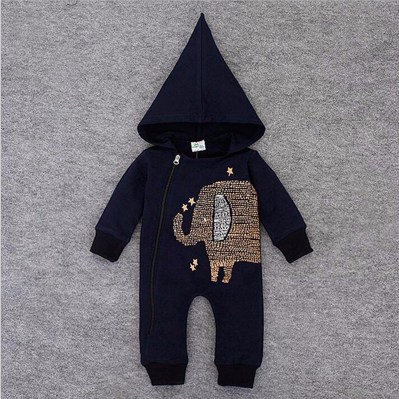 f74f1e085 Blue Baby Romper Animal Elephant Baby Boy Romper With Hooded Winter ...