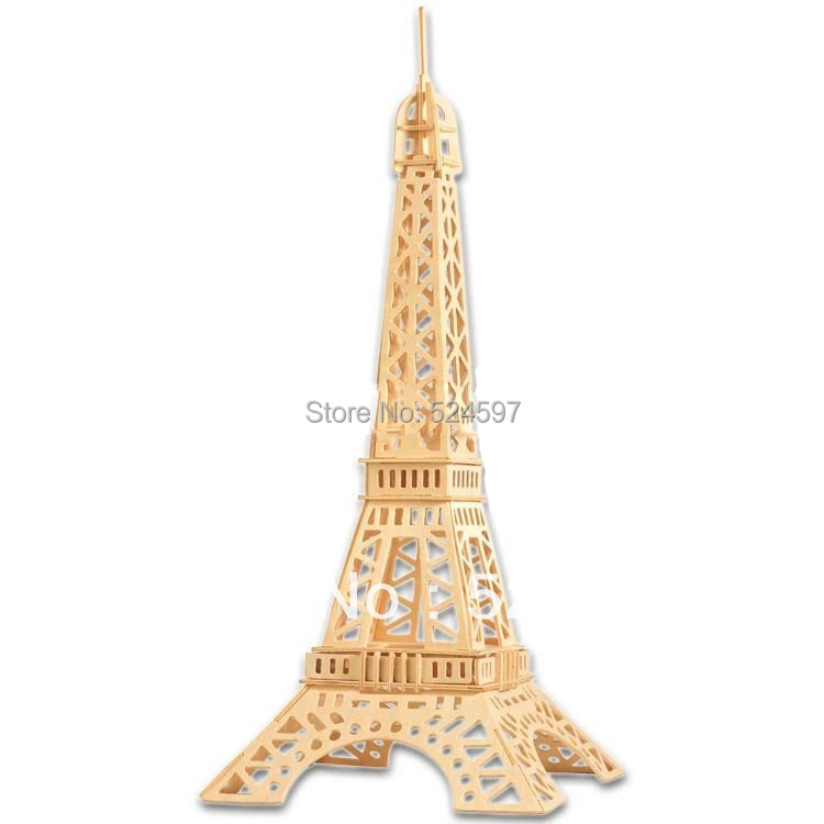 2015 New Promotion 10pcs Children Educational Gift popular handmade decoration Eiffel Tower toy 3D diy wooden puzzle toys WJ0025