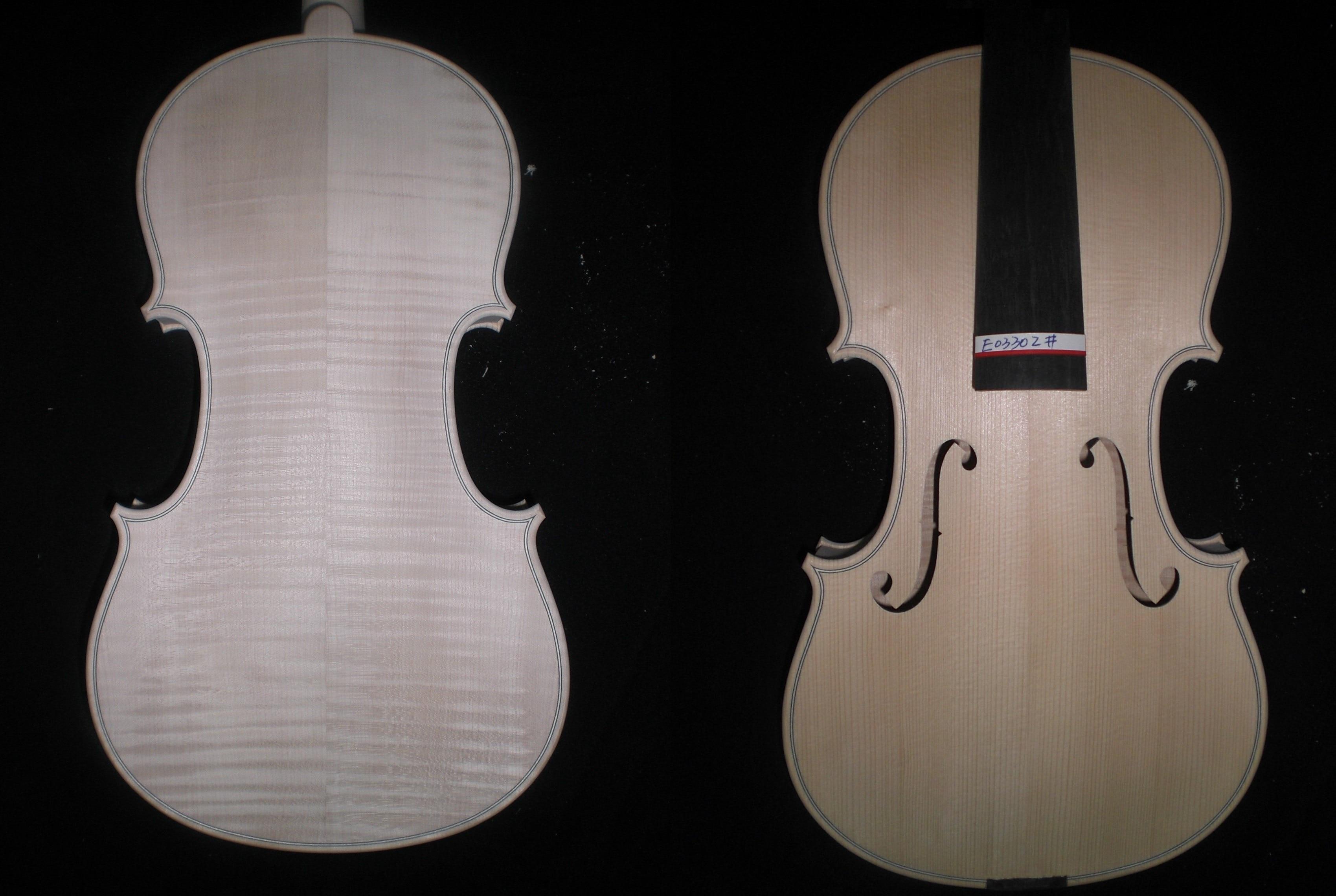 European Wood White Violin Flame Maple Back 4/4 Spruce Top Ebony Fingerboard E03302# 2 pcs new 4 4 unfinished violin flame maple back russian spruce top