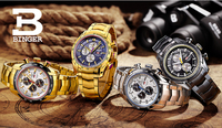 44mm Switzerland Chronograph Sports Watch Swim 2018 Waterproof Military Quartz Wristwatch BINGER Men Watches relogio masculino 3