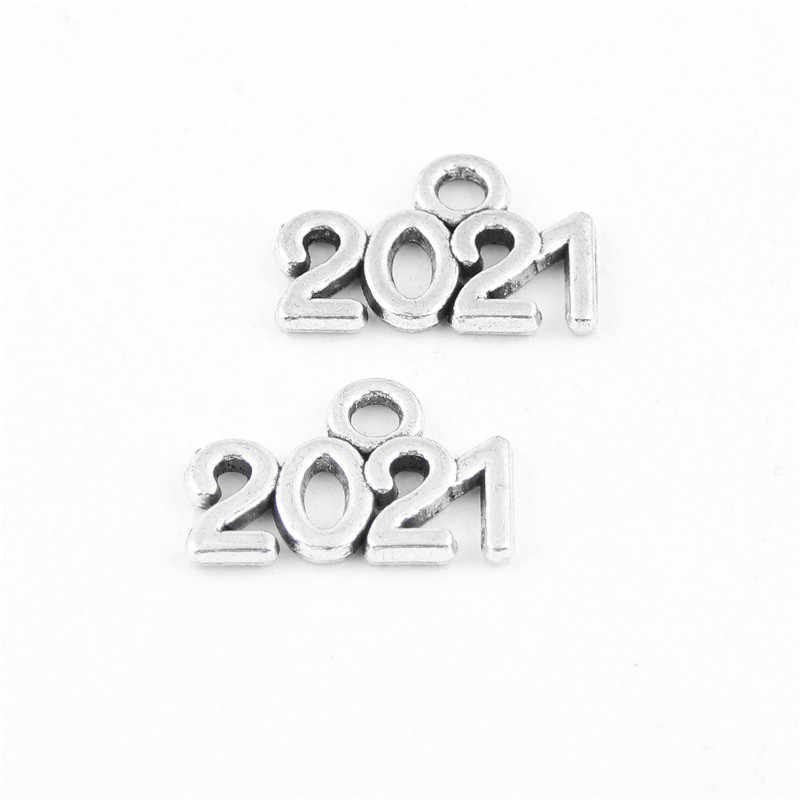 NUMBER A334 2021 CHARM x 10 YEAR.. ANTIQUE SILVER