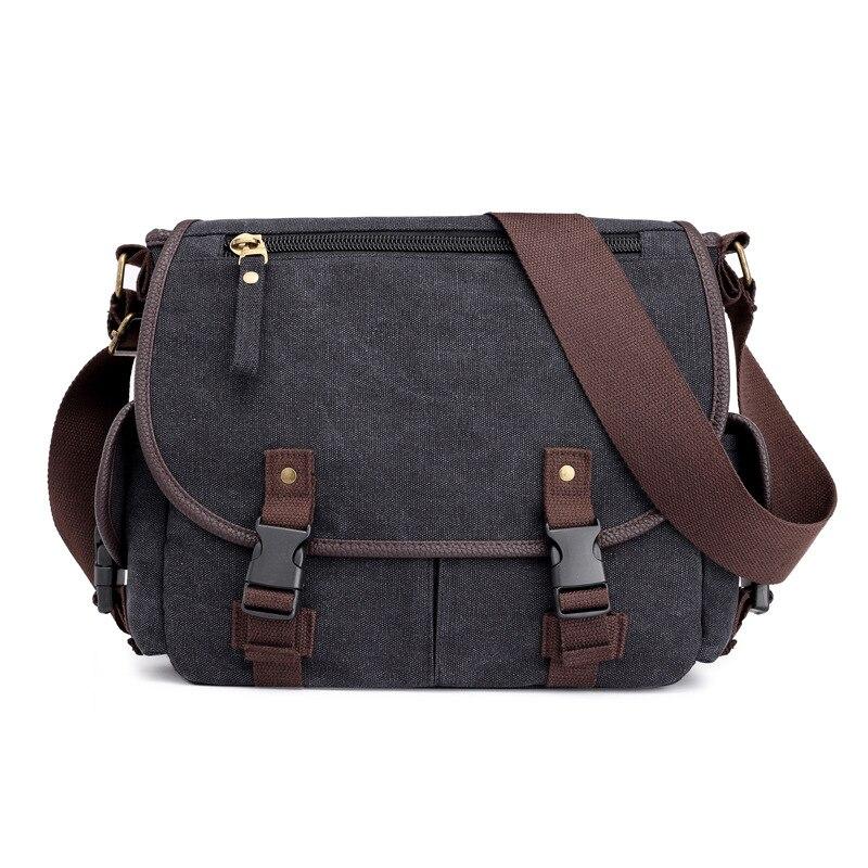 Shoulder bags Men Canvas Black Khaki Crossbody Bags for Men Classic Color Design Messenger Bags Durable Fabric Pack Vintage Bags messenger bag