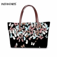 INSTANTARTS Funny Animal Butterfly Printing Women Large Tote Bags Fashion Female Beach Bag Brand Designer Handbags for Shopping