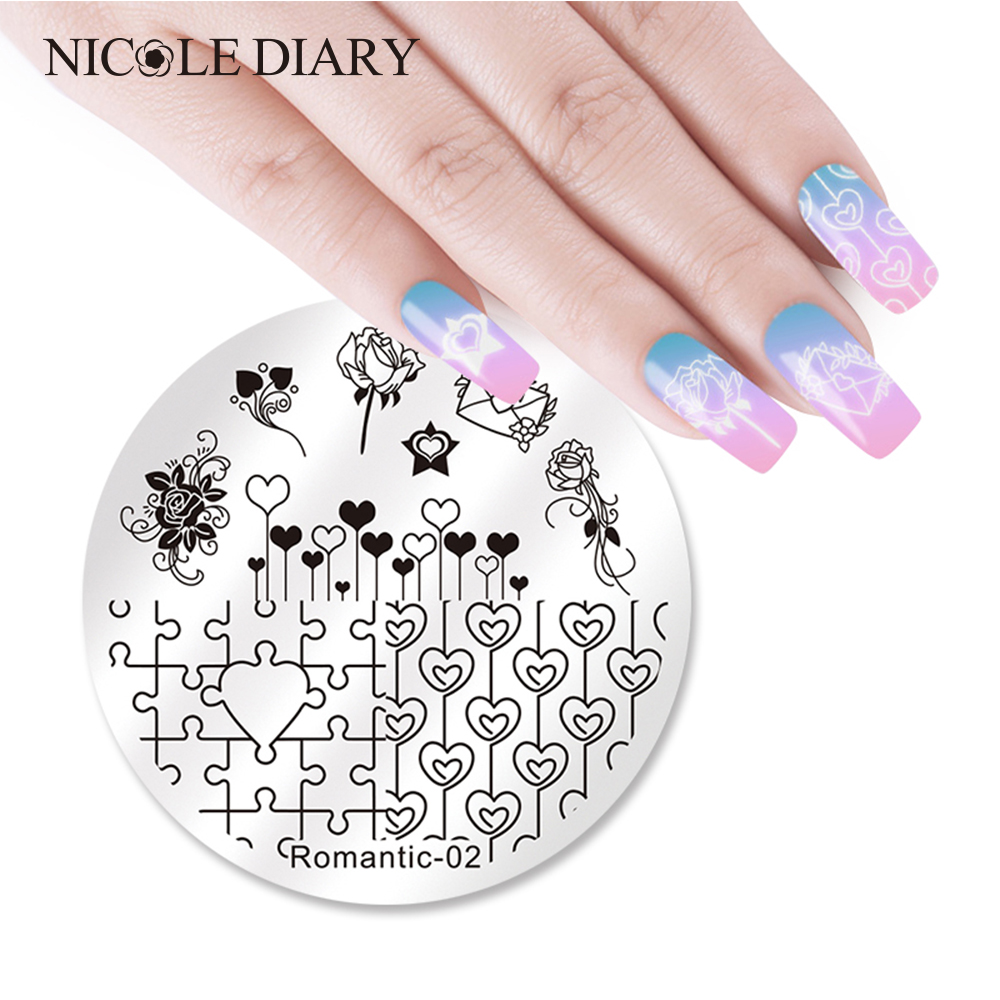 The Nail Art And Beauty Diaries: NICOLE DIARY Heart Puzzle Round Stamping Plate Valentine