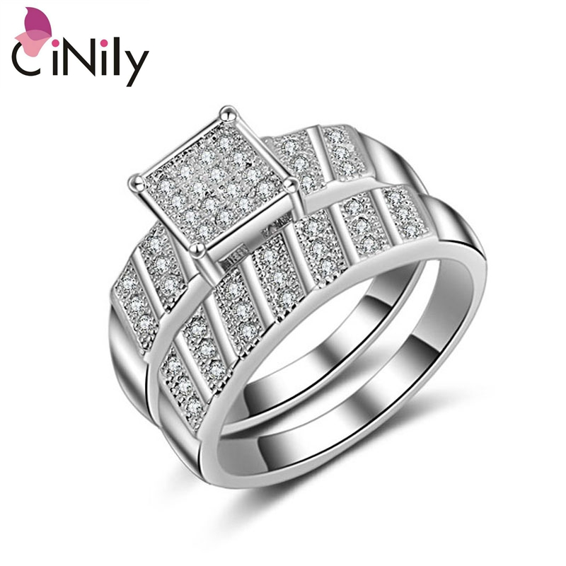 Cinily Jewelry Wedding-Ring Silver-Plated White Hot-Sale Size-6-9 Cubic-Zirconia Women