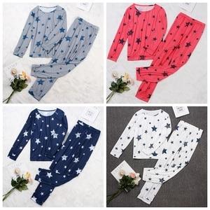 Image 4 - Женский пижамный комплект со звездами, Осень зима, мягкая удобная Пижама, домашний костюм, женская пижама, топ и штаны, пижамный комплект