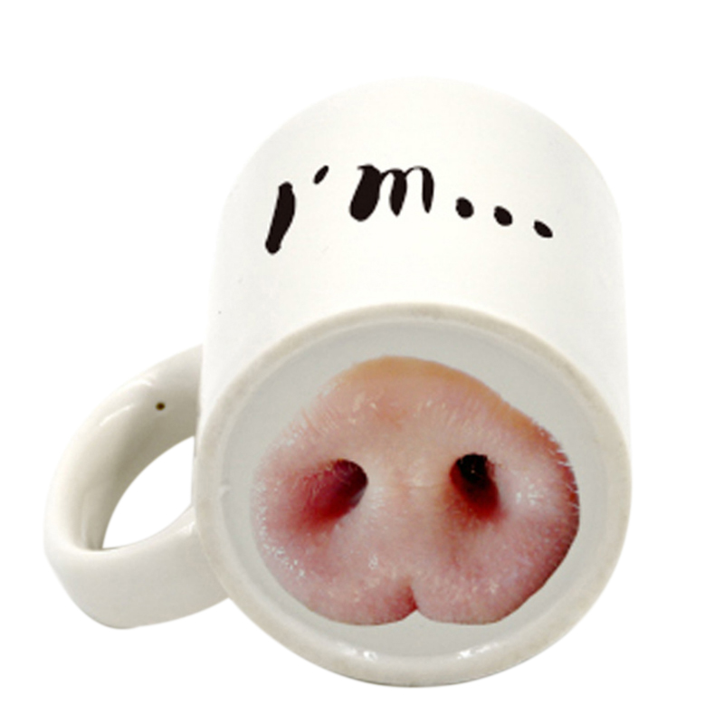 Dog Pig Nose Mug Cup Creative Ceramic HOT Funny Mark Beverage Laugh Tea Coffee Cups 50mk022 in Mugs from Home Garden