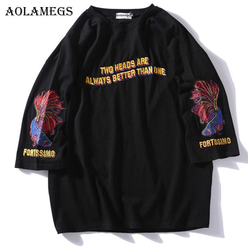 Aolamegs   T     Shirt   Men Japanese Fish Printed Men's Tee   Shirts   O-neck   T     Shirt   Hip Hop Streetwear   T     Shirts   Summer Fashion 2018 Tees