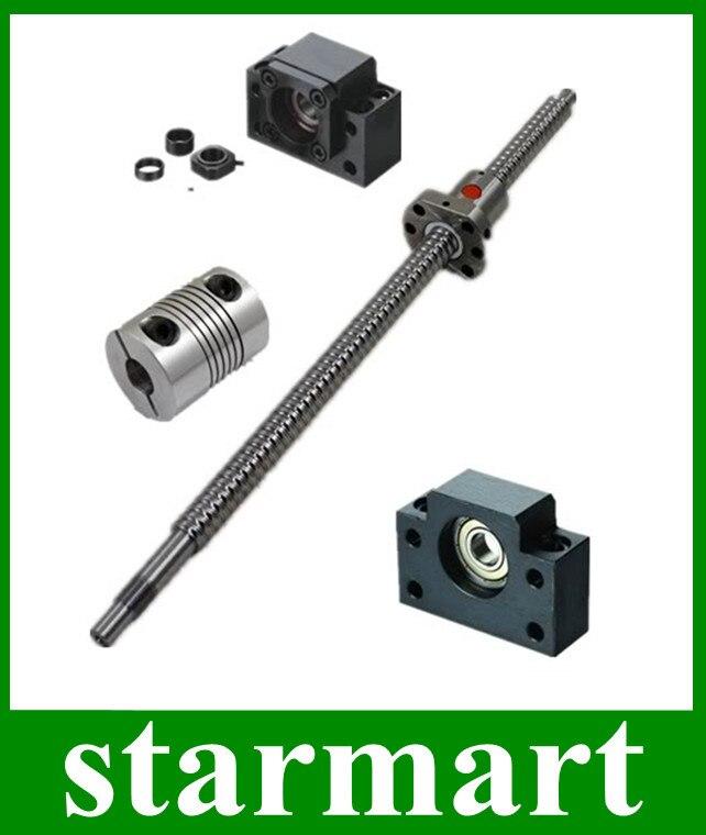 1 pc rattrapage de vis à billes 1605 L400mm-C7 + BK12/BF12 + coupleur