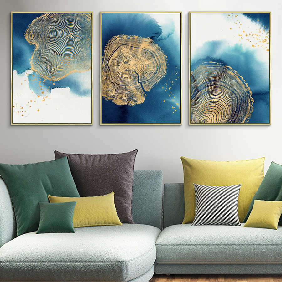 Abstract Canvas Art Blue Gold Paintings Nordic Scandinavian Poster Print Wall Art Geometric Pictures for Living Room Decoration