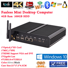 4G RAM 500G Laptop Hard Disk Slim PC Intel Core i7 5500u i5 5250u Iris 6100 Fanless Mini PC Win10 2 HDMI+2 LAN+SD Card+Optical