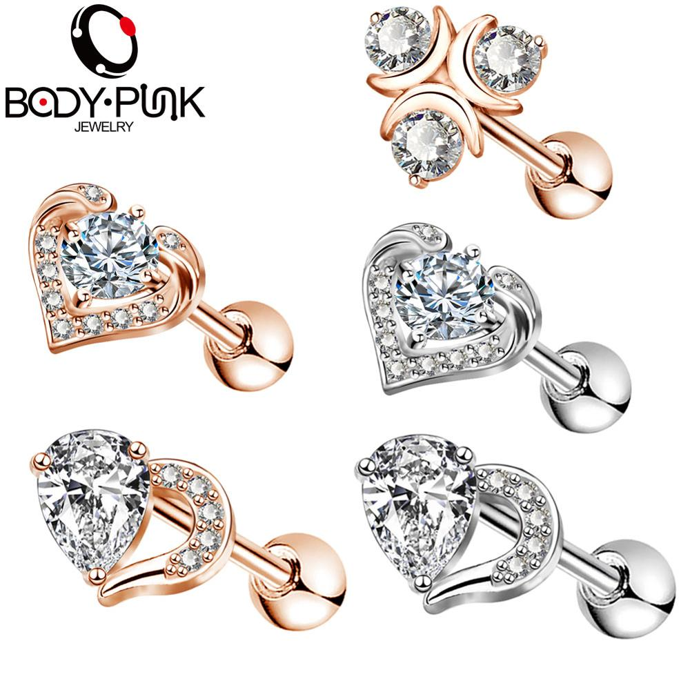 Body Punk Ear Cartilage Helix Earring Piercings High Quality 16G Surgical Steel CZ Daith Tragus Studs Piercing Rose Gold Women