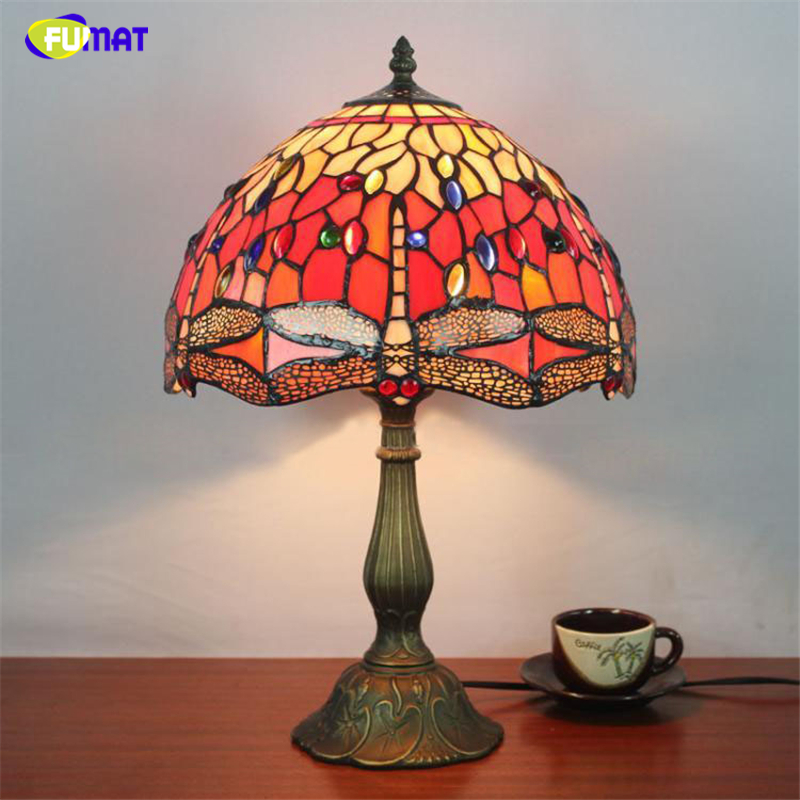 FUMAT 12 Inch Dragonfly Stained Glass Lampshade Light