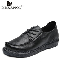 DRKANOL New Spring Genuine Leather Oxford Shoes For Women Flat Shoes Vintage Handmade Soft Luxury Casual Women Flats Shoes H70 1
