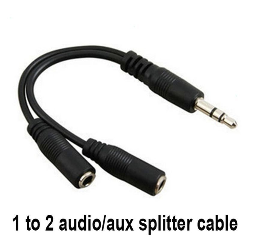 3.5mm audio jack out plug to 2 rca splitter adapter 2LOTS