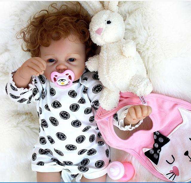 New Arrival 22inch 55cm Silicone baby Reborn Vinyl Doll Curly Hair Bebe Reborn Babies stuffed Toys for child Juguetes Brinquedos