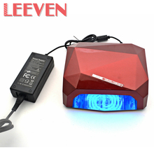 Leeven 36W Red,Black Nail Dryer Diamond Shaped UV Lamp LED Lamp Nail Lamp Curing For UV Gel Nails Nail Art Tools High Quality