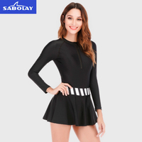 SABOALY Long Sleeve slim conjoined ins swimsuit ladies with breast pads conservative Large Size Swimsuit wholesale VL901